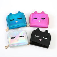 Girl Cat Laser Coin Purse Short Wallets Lady Laser Leather S...