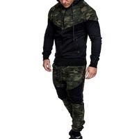 Erkekler Nedensel Kamuflaj Baskı Kamuflaj Ceket Pantolon 2PC Eşofman Sportwear Jogger Tasarımcı Hoodies Kazak Fermuar Suit Artı Boyutu ayarlar