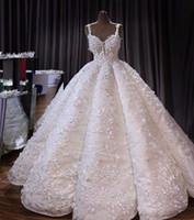 Урожай Sequined Кружева Appliqued 3D Цветы бальное платье Wedidng платья Luxury Спагетти Плюс Размер Саудовская Аравия Дубай Дубай свадебное платье на заказ