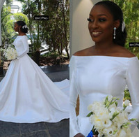 New White Satin African Wedding Dresses Off The Shoulder A L...