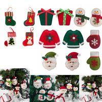 Árbol de navidad que cuelgan los guantes colgante de Santa Claus muñeco de nieve del regalo que cuelga del árbol de Navidad cepillado de tela Calcetines Decoración del transporte marítimo de IIA416-1