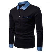 Designer Col manches longues Polos Denim Casual Mode T-shirt respirant Hauts pour hommes Vêtements pour hommes 2020 Luxe