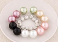 Las ventas calientes de Cristal Brillante de Doble Cara Pendientes de Perlas Pendientes de perlas de Doble Bola Bolas Mujeres Pendientes Brincos Joyería de La Boda