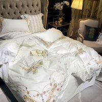 Set di biancheria da letto Set di cotone egiziano Copertura piumino da ricamo 4 / 6pcs White Fodera Biancheria Biancheria da letto Bedlethes Queen / King Size #a
