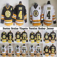 Boston Bruins CCM Vintage Formalar 4 ORR 8 Neely 7 Esposito 24 O`Reilly 77 Bourque 12 Oates Erkek Hokey Jersey