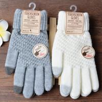 Gants d'hiver d'écran tactile Femmes Hommes chaud tricot extensible mitaines imitation laine doigt Crochet pleine Guantes Femme
