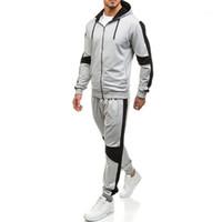 Farbe mit Kapuze Langarm Hosen Herbst Homme Kleidung Basketball Lässige Kleidung der Männer 2pcs Desinger Sport-Trainingsnazug-Fest