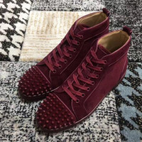 New Men Women parte inferior vermelha Shoes Burgundy Suede couro com pontas do dedo do pé oi-top, Designer Marca Spikes Toe Couro Festa Sapatos casuais