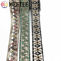 Ethnic Gold Thread Embroidered Lace Trims Sequins Webbing Ri...