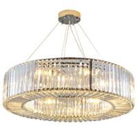 Modern Luxury iluminación de la lámpara de cristal colgante redondo Cuerpo de iluminación LED de estar Comedor Lustres De Cristal