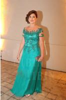 2018 Custom Applique Long Mother of the Bride vestidos fiesta nupcial formal más tamaño vestido de manga corta