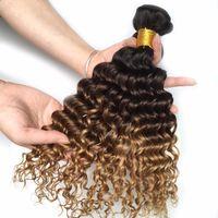 La armadura brasileña del pelo de la onda profunda de Ombre lía la trama del pelo de Remy del tono humano T1B / 4/27 tres tonos