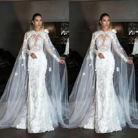 Dubai encaje ilusión ilusión mangas largas sirena vestidos de novia con envoltura cristal vestidos nupciales con trenes de corte