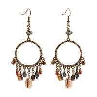 Etnica Boho rotonda estiva in lega di fascino degli orecchini di Shell di legno Pendenti nappa ciondola gli orecchini gioielli di moda Brincos
