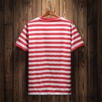 الصيف الساخن براند جينز USA الرجال مخطط تي شيرت أزياء الصيف التطريز مصمم تيز بأكمام قصيرة بلايز الملابس