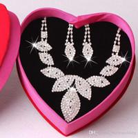 고품질 신부 보석 세트 웨딩 액세서리 목걸이 귀걸이 모조 다이아몬드 Bidal 패션 보석 세트 # DB-JS016