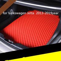 Volkswagen Jetta 2013-2019year araç kaymaz mat için özel bir anti-patinaj deri araba bagajı paspas paspas uygun