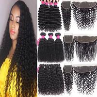 9a paquetes de cabello humano brasileño con cierres de cierre de encaje 4x4 o cierre frontal de encaje de 13x4 rizos rizados de onda profunda rizado con cierre