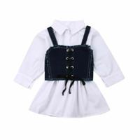 Baby-Kleid 2019 Baby-Kinder Langarm-Riemen-Shirt mit Denim-Kleid weißen T-Shirt Button oben Straps-Denim-Rock 2 Stück Set