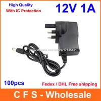 100pcs de haute qualité avec adaptateur programme IC AC DC 12V 1A 1000mA Alimentation UK Plug DC 5.5mm X 2.1mm Fedex / DHL Livraison gratuite