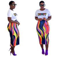 Vestidos africanos de duas peças set roupas tamanho grande poliéster moda produtos impresso t-shirt top saco hip saia mulheres dress sets s-3xl