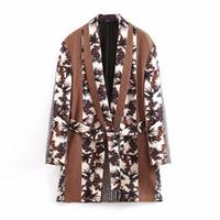 Kadın Takım Elbise Blazers Klacwaya Kadınlar Vintage Kahverengi Blazer Kemer 2021 Moda Bayanlar Ekose-Çiçek Çentikli Yaka Kızlar Gevşek Şık Set
