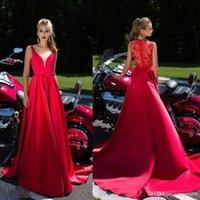 Setwell einer Linie Abschlussball-Kleid-Spitze der Illusion zurück mit tiefem V-Ausschnitt Sexy Abendkleider Sweep Zug Lange spezielles Gelegenheits-Kleid