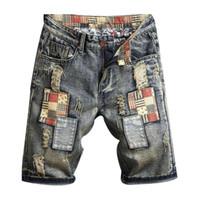 New Mens Rasgado Denim Shorts Moda Homens Denim Jeans Slim Calças Retas Trend Mens Calças Estilistas