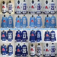 كيبيك Nordiques خمر الفانيلة 19 Sakic 13 Sundin 26 Stastny 10 Lafleur 22 Marois 21 Forsberg ممتاز CCM الهوكي الفانيلة