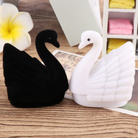Nueva novedad terciopelo cisne Anillo caja caliente encantador elegante del pendiente de caja que lleva la manera del caso Caso regalo exhibición de la joyería de embalaje