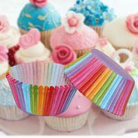 100pcs Papel Bolo Cupcake Liners Baking Muffin Caso Cup Party Decor bonito do arco-íris Teste padrão animal bolo ferramentas do Small Cake Box Cup