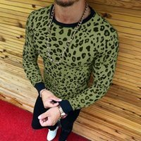 Gros-2018 Mode Marque Vêtements 4 couleurs O Neck Leopard Sexy Men Fitness Casual Homme T-shirt M-3XL Dropshipping