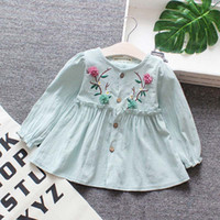 2019 New Autumn Spring Princess Dress For Girl ricamo vestiti infantili vestiti a maniche lunghe in cotone
