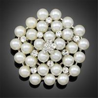 Nouveau Vintage Argent Gold Multi-Beads Perle Pin Broche Joyeuse demoiselle De demoiselle d'honnête Effacer strass Pétale Corsage pour mariage