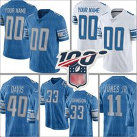 Detroit özel Lion Jersey 19 Kenny Golladay 33 Kerryon Johnson 40 Jarrad Davis 11 Marvin Jones Jr 25 Riddick Futbol Formalar