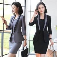 Çalışma Elbiseleri 2021 Bayanlar Elbise Takım Tam Kollu Blazer Kolsuz 2 Parça Set İşletmeleri Kadınlar 001