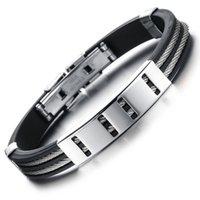 Art und Weise 1pc neuen Männer Titan Stahl Silikon Armband Empfindliche Allergieprävention Joker-Armband Schmuck Freunde Familie Geschenke