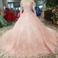 Pink Girls Pageant Prom Dress With Train O- Neck Long Tulle S...