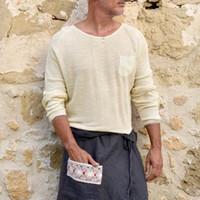 2019 Mode Tendance Hommes Automne pré-automne Casual manches longues Jumper en vrac ras du cou Haut Pull solide simple Fitting T-shirts T-shirts