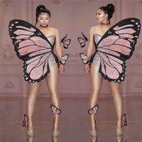 V99 Sexy women pole dance dress belly dance stage costumes butterfly wings bodysuit diamonds siamese cosplay rhinestones jumpsuit party wear
