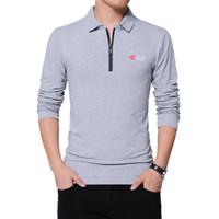 TFETTERS autunno di modo del Mens Zipper Collare design uomo T-shirt maniche lunghe in cotone Tee colore solido business T-shirt da Uomo Top