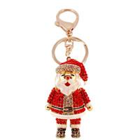 열쇠 고리 펜던트 핸드백 장식 지갑 크리스마스 매력 열쇠 고리 링 매달려 귀여운 키 체인 만화 라인 석 산타 클로스