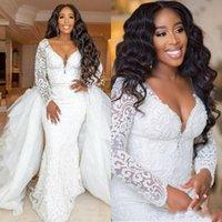 2020 새로운 아프리카 호화스러운 긴 소매 플러스 크기 Derachable 기차를 가진 선 웨딩 드레스 섹시한 깊은 V 목 검은 소녀 레이스 신부 가운