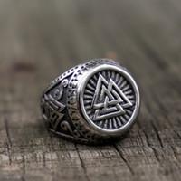 Мужская Vintage из нержавеющей стали 316L треугольник Rune Futhark Vegvisir кольцо Viking Odin Nordic Jewelry Размер 7-14