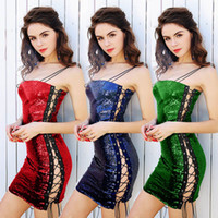 2019 new Lady Sequins Sexy Party Club sequins slip dress Wom...