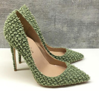 new type Light green fine heel high- heeled shoes pointed wom...