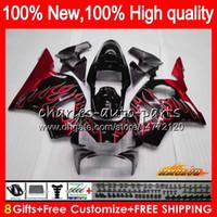 Body For HONDA CBR900RR CBR 954 900 RR CC CBR900 CBR954 RR 02 03 77HC.42 red flames top 900CC CBR 900RR 954RR CBR954RR 2002 2003 Fairing Kit