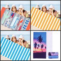 Flamingo Stripe Summer Beach Towel رقيق الألياف السجاد الأزرق الأصفر 150 ضرب 75 العملي شاطىء البحر يونيكورن مناشف الحمام 15jm2D1