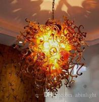 Новый дизайн Amber Brown Цвет выдувное стекло цепи люстры Светодиодные лампы Art Decor Murano боросиликатного стекла высокого качества Люстра для дома