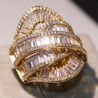 2019 Neue Ankunft Atemberaubende Modeschmuck 925 SilverGold Füllen Volle Prinzessin Cut Weißer Topas CZ Diamant Glück Verlobung Breite Ehering
